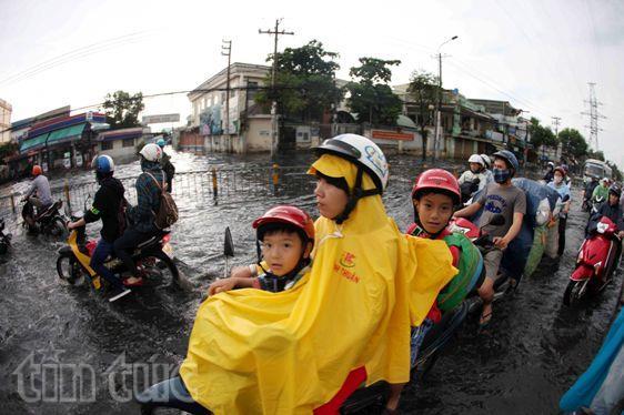 Sau mưa lớn, đường Sài Gòn ngập sâu, giao thông hỗn loạn - ảnh 6