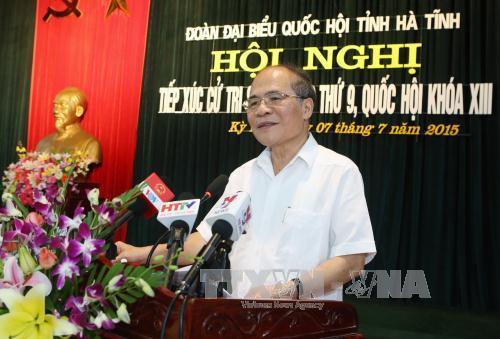 Chủ tịch Quốc hội tiếp xúc cử tri thị xã Kỳ Anh, Hà Tĩnh