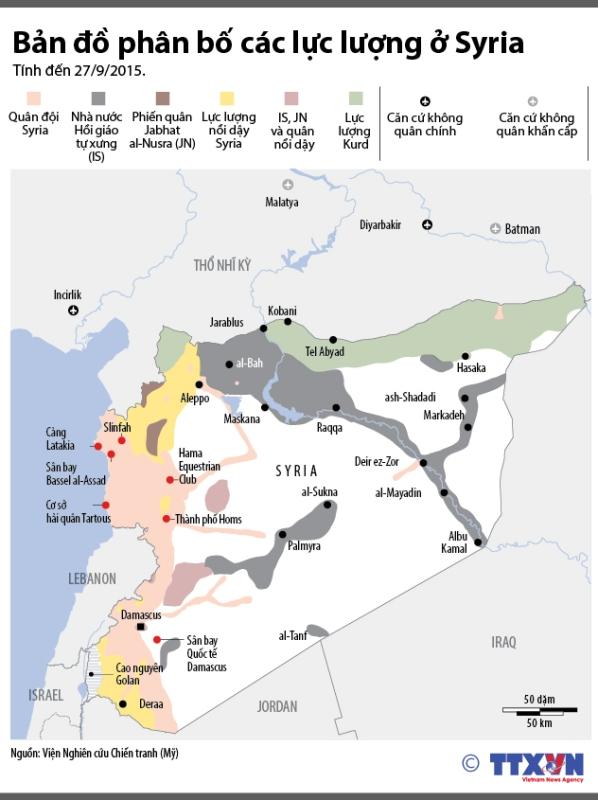 Bản đồ cho thấy sự phân bố các lực lượng ở Syria.