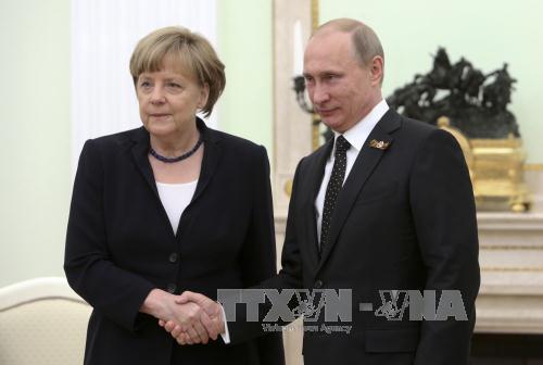 Tổng thống Nga Vladimir Putin (phải) và Thủ tướng Đức Angela Merkel trong một cuộc gặp. Ảnh: AFP/TTXVN