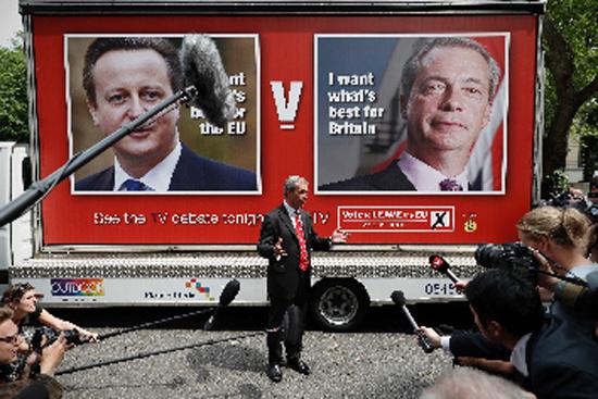 Thủ lĩnh đảng Độc lập Anh Nigel Farage trong một cuộc đối thoại về cuộc trưng cầu ý dân ngày 7/6. Ảnh: AFP/TTXVN