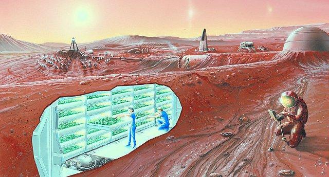 Ảnh minh họa một căn cứ làm việc của các phi hành gia trên sao Hỏa.