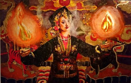 Exhibition of lacquer paintings featuring Mother Goddesses' beauty opens in Hanoi