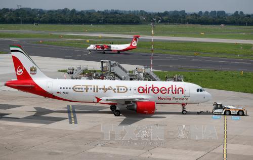 Máy bay của Hãng hàng không Đức Air Berlin tại sân bay Duesseldorf ở Duesseldorf, Đức ngày 16/8. Ảnh: EPA/ TTXVN