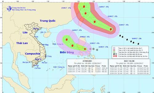 Bão TALIM di chuyển nhanh, áp thấp nhiệt đới khả năng mạnh lên thành bão