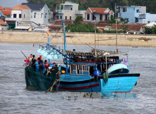 Ngư dân Quảng Ngãi chuẩn bị ngư lưới cụ cho chuyến đi biển. Ảnh: Phước Ngọc/TTXVN