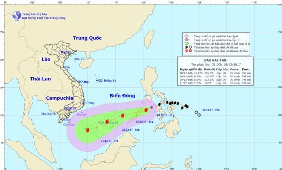 Vị trí và đường đi của cơn bão. Ảnh: Trung tâm Dự báo Khí tượng Thủy văn Trung ương