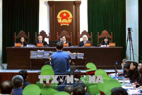 Quang cảnh phiên xét xử sơ thẩm bị cáo Trịnh Xuân Thanh và đồng phạm ngày 9/1/2018. Ảnh: An Đăng/TTXVN