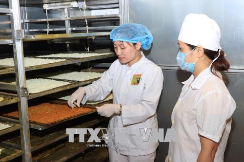 Chị Hồng Minh kiểm tra chất lượng nghệ trong lò sấy.