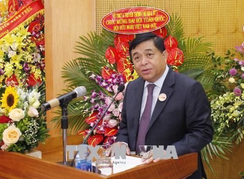Tân Chủ tịch Hội Hữu nghị Việt Nam - Đức, ông Nguyễn Chí Dũng phát biểu. Ảnh: Văn Điệp/TTXVN