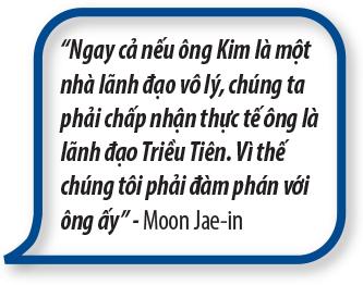 """""""Ngay cả nếu ông Kim là một nhà lãnh đạo vô lý, chúng ta phải chấp nhận thực tế ông là lãnh đạo Triều Tiên. Vì thế chúng tôi phải đàm phán với ông ấy"""" – Moon Jae-in"""